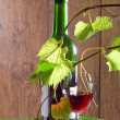 Stock Photo: Red wine glass and bottle