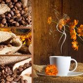 Koffie collage met bruine achtergrond — Stockfoto