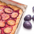 Delicious traditional plum cake — Stock Photo
