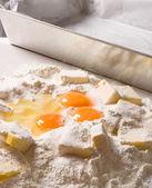 Cake ingredients close up — Stock Photo