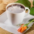 Stock Photo: Coffee with orange rose