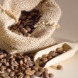 Coffee beans in a linen bag — Stock Photo