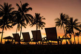Row deckchairs on beach at sunset, — Stock Photo