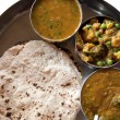 Traditional Indian cuisine vegetarian thali served in small bowl — Stock Photo #6477652