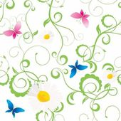 Spring or summer grunge background with butterflies and flowers silhouette — Foto Stock