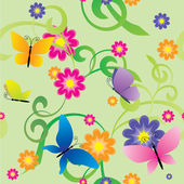 Butterflies and flowers seamless background — Stockfoto