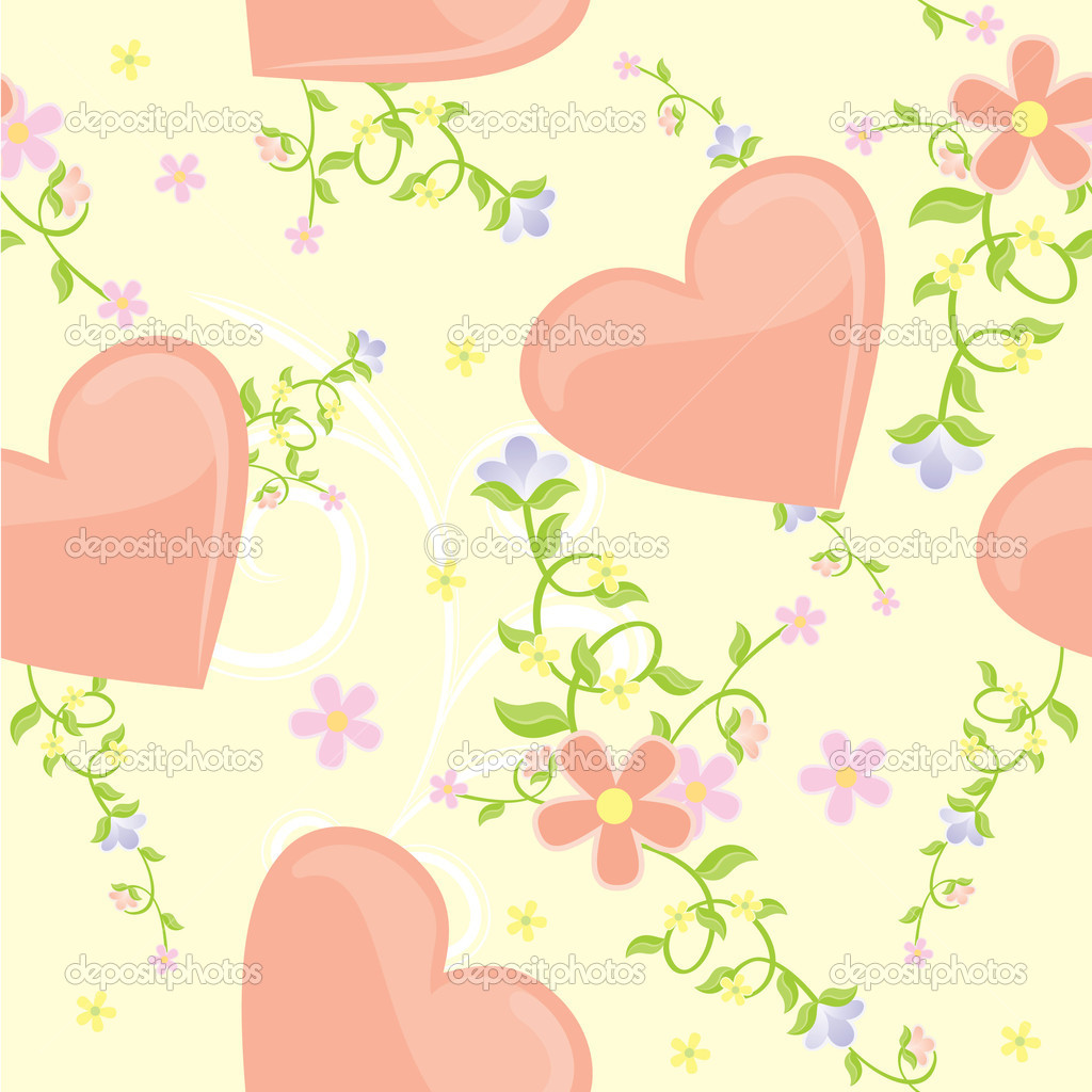 Vector hearts and flowers seamless background — Stock Photo #5439111