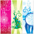 Set of banners christmas tree with snowflakes - Stock Photo