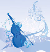 Illustrazione inverno retrò violino — Foto Stock