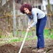 Redhead young lady digging in the garden — Stock Photo