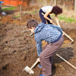 Mother and son working the land — Stockfoto