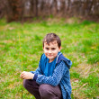 Happy boy sitting in the grass — Stock Photo #5473385