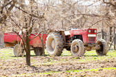 Old tractor with trailer — Stock Photo