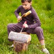 Boy sculpting in a log with a chisel - Stockfoto