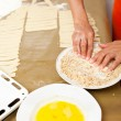 Hands of a woman preparing cookies — Stock Photo
