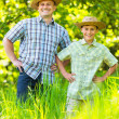 Father and son outdoor in a forest — Stock Photo