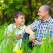 Foto Stock: Father and son sitting in grass