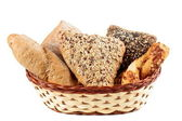 Variety of bread in a basket — 图库照片