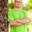 Young man in the forest — Stock Photo