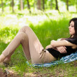 Beautiful girl sleeping outdoor - 图库照片