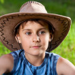 Cute boy with hat outdoor — Stock Photo