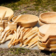 Traditional carved wood dishware — Stock Photo