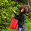 Woman picking fir buds — Foto de Stock