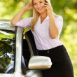 Young businesswoman speaking on mobile phone near her car — 图库照片 #5960233