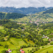 Alpine landscape with houses in Tyrol - Stock Photo