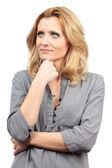 Pensive businesswoman on white — Stock Photo