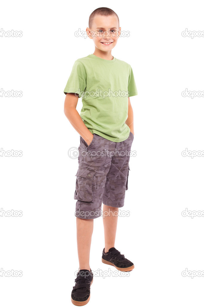 Child standing, isolated on white background — Stock Photo ...