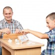Father and son playing rummy — Stock Photo #6316520