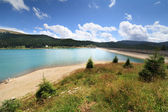 Dam Lake Bolboci in Bucegi mountains, Romania — Stock Photo
