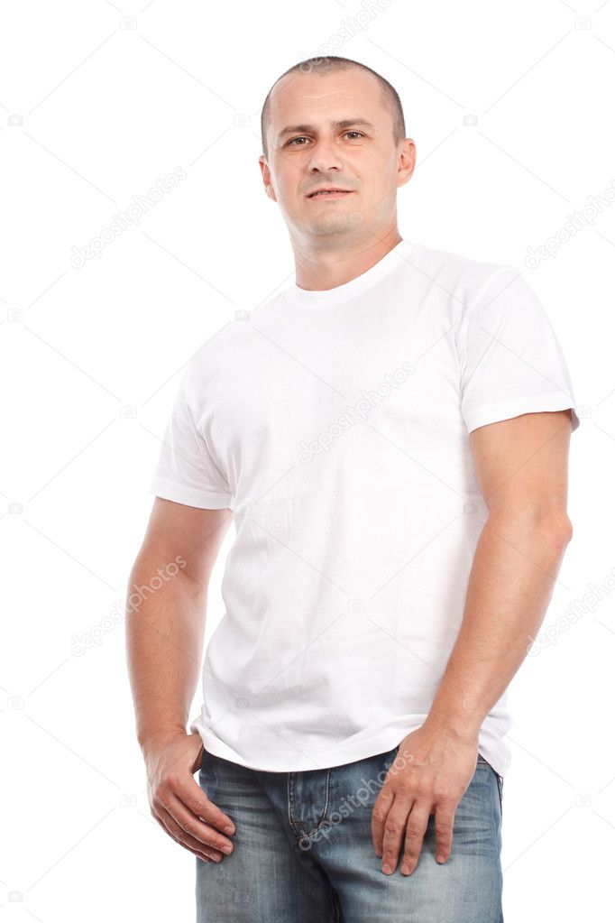Young man with white t-shirt — Stock Photo © Xalanx #6316554