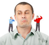 Listening to elf-businessmen — Stock Photo