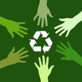 Recycling green team — Stock Vector