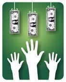 Unreachable money — Stock Vector