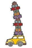 Gehen wir zum Spaß: ein Auto bereit für den Urlaub. — Stockvektor
