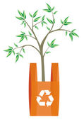 Recycling bag with tree inside — Stock Vector