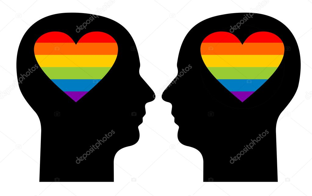 Иллюстрация Silhouettes of a gay couple with colorfull hearts in their head