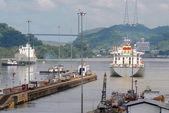 Cargo Ships passing through Panama Canal — Stock Photo