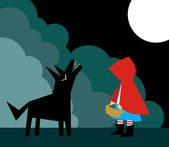 Little Red Riding Hood and the Wolf — Stock Vector