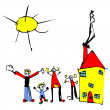 Child drawing of family, sun and house - Stock Vector