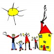 Child drawing of family, sun and house — Stock Vector #6044365