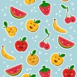 Happy fruits pattern — Stock Vector