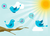 Twitter birds at social media sunrise — Stock Vector