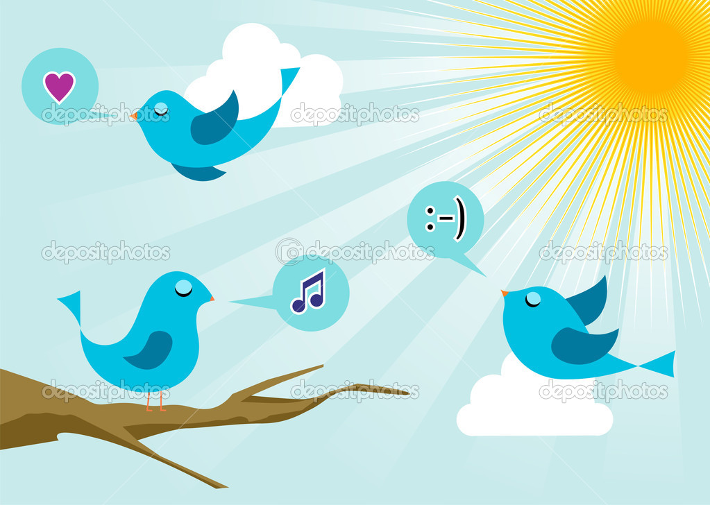 Twitter birds morning communication. Social media network connection concept — Stock Vector #6071937