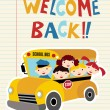 Stock Vector: Welcome Back to School bus
