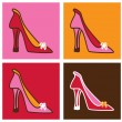 Stock Vector: Pop pink stilettos background