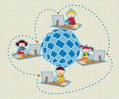 グローバル社会の学校ネットワーク通信 — ストックベクタ